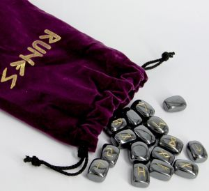 Hematite Crystal Rune Set Complete with Instructions- Click For Detail View