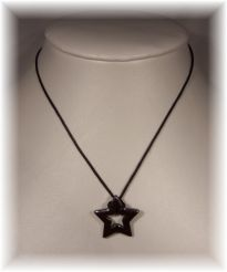 Natural Hematite Pentacle Pendant on Leather Cord Necklace - Click for Detail VIEW