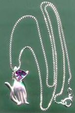 Sterling Silver Amethyst Cat pendant with Silver Chain - Click for Detail VIEW
