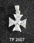 Sterling Silver Maltese Cross set with Faceted Cubic Zurchonias
