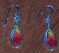 Click for Larger Detail - Silver Flame - Element of Fire Drop Ear Rings - Sterling Silver with Enamel Flame inlay