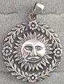 Sterling Silver Solar Sun Flower Pendant - Click for detail VIEW