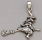 Sterling Silver Flying Witch on Broom Stick Pendant  - Click for Detail VIEW