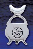 Sterling Silver Cauldron with engraved Pentagram in circle - Click for Detail VIEW