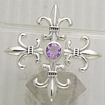 Sterling Silver Fleur De Lis Classic Pendant with central Amethyst stone - Click for detail VIEW