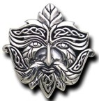 Sterling Silver Greenman Knotwork Pendant - a wider pendant - Click for detail VIEW
