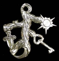 Cimaruta Witch Charm Pendant - Large - Pewter - click for detail View