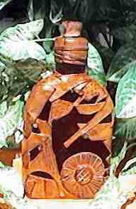 Witch Bottle 230ml with buckskin patchwork and velvet inlay designs - back view
