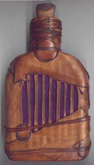 Witch Bottle 230ml with buckskin patchwork and purple velvet inlay designs - back view