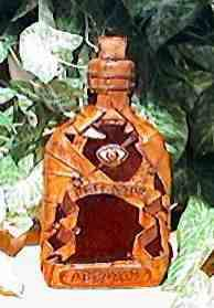 Witch Bottle 230ml with buckskin patchwork and velvet inlay designs - front view