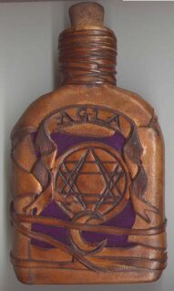 Witch Bottle 230ml with buckskin patchwork and purple velvet inlay designs - front view