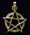 photo of Solid 9ct Gold Pentagram with extended points in Circle by ShadowSmith - Click for More SHADOWSMITH JEWELLERY