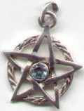 photo of Sterling Silver Pentagram with extended points in Circle featuring a faceted Blue Topaz by ShadowSmith - click for detail view