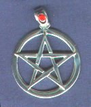 photo of Sterling Silver Pentagram in Circle pendant with cabuchon Garnet-set bail by ShadowSmith - click for detail view