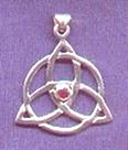 photo of Sterling Silver Triquetra Symbol pendant with Garnet Stone - click for detail view
