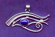 photo of silver Eye of Horus pendant with lapis lazuli cabochon - click for detail view